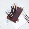 leather pencil case holder